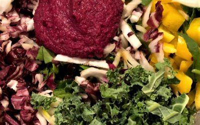 Kale-Spinach Salad with Beet Ginger-Lemon Dressing